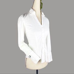 Express White V Neck Button Up Dress Shirt Button